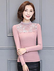Women's Casual/Daily Simple Fall Winter Shirt,Solid Crew Neck Long Sleeve Pink Black Others Medium