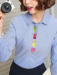 Feminino Camisa Social Casual Formal Trabalho Simples Primavera Outono,Sólido Azul Branco Algodão Linho Raiom Colarinho de CamisaManga