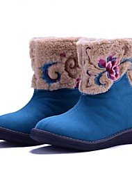 Women's Boots Spring Fall Winter Comfort Canvas Outdoor Dress Casual Low Heel Flower Blue Beige Walking