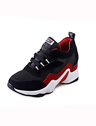 Women's Athletic Shoes Fall Winter Comfort PU Casual Low Heel Lace-up Black Gray Walking