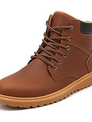 Men's Boots Winter Comfort PU Outdoor Flat Heel Lace-up Black Dark Brown Light Brown