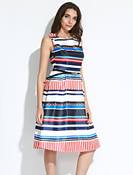 Women's Going out Vintage Sheath DressStriped Round Neck Knee-length Sleeveless White Polyester