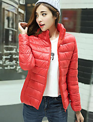 Women's Solid Fashion Slim Plus Size Padded Coat,Street chic Stand Long Sleeve