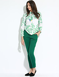Women's Casual/Daily / Club Sexy / Vintage Fall / Winter Shirt Pant Suits,Solid / Floral Round Neck Long Sleeve Green Polyester Opaque