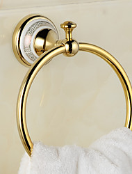 Copper Ceramics Gold Bronze Finished Towel Ring Towel Holder Towel Bar Bathroom Accessories Useful For Bathroom