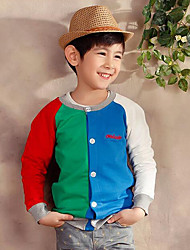 Boy's Cotton Fashion Spring/Fall Going out/Daily Rainbow Casual Long Sleeve Round Collar Children Cardigan Baseball Jacket Coat