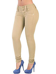 Women's Skinny Jeans Pants,Casual/Daily Street chic Solid High Rise Button Cotton Spandex Micro-elastic Spring