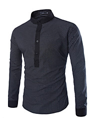 Men's Casual/Work Print Long Sleeve Regular Shirt (Cotton)