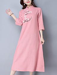 Ample Robe Femme Décontracté / Quotidien Vintage Chinoiserie,Imprimé Mao Midi ½ Manches Bleu Rose Coton Lin Printemps Eté Taille Normale