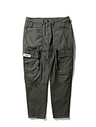Men's Plus Size Loose Chinos Pants,Sports Vintage Solid Mid Rise Button Cotton Inelastic Winter