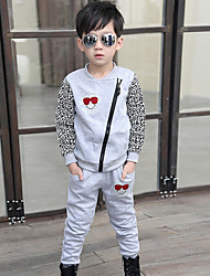 Boy's Cotton Fashion Spring/Fall Going out Casual/Daily Leopard Print Long Sleeve Shirt & Pants Two-piece Set Sport Suit