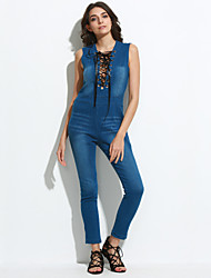 Women's Lace up Solid Denim Slim Criss-Cross JumpsuitsSexy / Simple Deep V Sleeveless