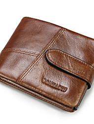 Casual Men Genuine Leather Short Wallet Passcase Zipper Coin Pouch Cowhide Men