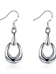 Hoop Earrings Jewelry Copper Silver Plated Drop Silver Jewelry Wedding Party Daily Casual 1 pair