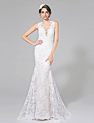 Lanting Bride® Trumpet / Mermaid Wedding Dress - Chic & Modern See-Through Wedding Dress Wedding Dress in Color Court Train Jewel Lace