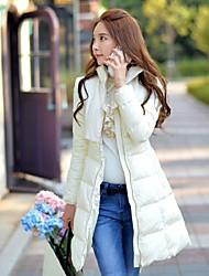 DABUWAWA Women's Long Down CoatSimple Street chic Sophisticated Going out Casual/Daily Holiday Solid Jacquard-Polyester Nylon White Duck DownLong