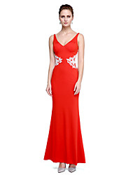 Mermaid / Trumpet V-neck Floor Length Jersey Prom Formal Evening Dress with Appliques by TS Couture®