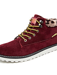 Men's Boots Winter Comfort Fabric Casual Flat Heel Lace-up Black Blue Brown Red Walking