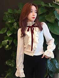 Feminino Camisa Social Para Noite Formal Fofo Primavera,Sólido Branco Poliéster Colarinho Chinês Manga Longa Média