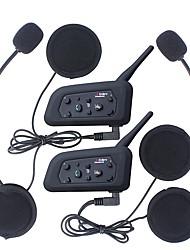 2pcs 1200m impermeável capacete da motocicleta interfone Auricular Bluetooth intercom v6 porteiro intercomunicador fone de ouvido do