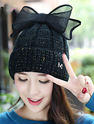 New M Alphabet Bow Plus Single Cap Cashmere Knitted Hat Lady Warm Earmuffs Wool Hat