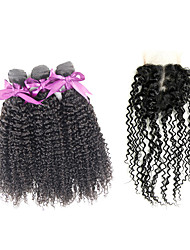 Indian Kinky Curly Virgin Hair Extension 3 Pieces  With 1 Lace Closure Unprocessed Good Quality Human Hair Weave