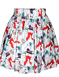 Women's Swing Print Skirts,Casual/Daily Low Rise Mini Elasticity Polyester Micro-elastic Summer / Fall
