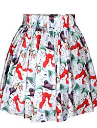 Damen Röcke,Schaukel DruckLässig/Alltäglich Tiefe Hüfthöhe Mini Elastizität Polyester Micro-elastisch Sommer Herbst