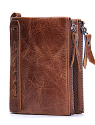 Contacts Genuine Leather Double Zipper Short Men Wallet Coin Pocket Pouch