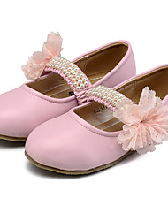 Girl's Flats Spring Fall Flower Girl Shoes Comfort Leatherette Wedding Dress Casual Party & Evening Flat Heel Beading Flower GorePink