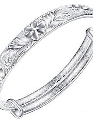 Women's Bangles Fashion Elegant Sterling Silver Flower Jewelry For Birthday Gift