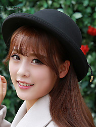 The Elegant Lady Wool Dome Basin Hat Strap Hasp Anti Along The Circular Cap Small Hat