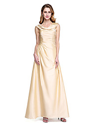 2017 Lanting Bride® A-line Mother of the Bride Dress - Open Back Elegant Floor-length Sleeveless Taffeta with Pleats