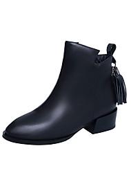 Women's Boots Fall Winter Other PU Office & Career Casual Low Heel Zipper Tassel Black