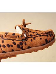 Boy's Flats Winter Moccasin Fabric Outdoor Casual Flat Heel Leopard