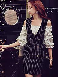 Moulante Gaine Noir Robe Femme Soirée Sortie Soirée / Cocktail Sexy Punk & Gothique Sophistiqué,Rayé Couleur Pleine Mosaïque Col en VAu