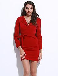 Women's Plus Size Simple Bodycon DressSolid Shirt Collar Knee-length Long Sleeve Red / Black / Green