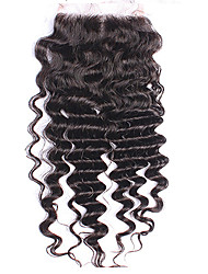 5inch x5 inch Brazilian deep Curly Remy Human Hair Top Lace Closure 3 Part Way