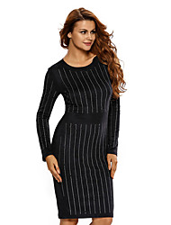 Women's Faux Suede Rhinestone Front Long Sleeves Dress