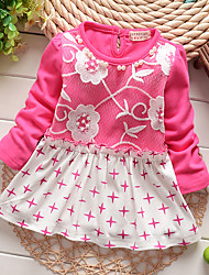 Girl's Cotton Casual Spring/Fall Going out Casual/Daily Lace Patchwork Skirt Sweet Embroidery Long Sleeve Princess Dress