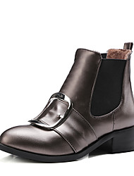 Women's Boots Winter Other Leatherette Party & Evening Dress Low Heel Buckle Black Silver Champagne Other