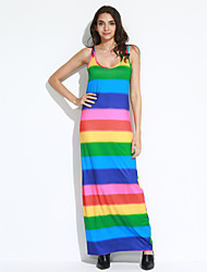 Women's Beach Sexy / Boho Sheath Dress,Rainbow Round Neck Maxi Sleeveless Multi-color Cotton / Rayon All Seasons