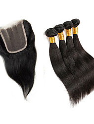 Tissages de cheveux humains Cheveux Malaisiens Droit 6 Mois 5 Pièces tissages de cheveux