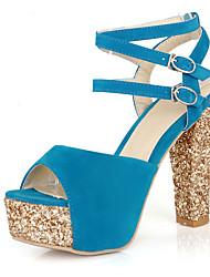 Damen-Sandalen-Büro Kleid Party & Festivität-Vlies-BlockabsatzSchwarz Rot Blau