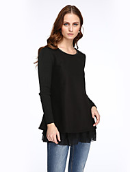 Women's Patchwork Loose Bottoming Dress , Casual / Plus Sizes Round Neck Long Sleeve