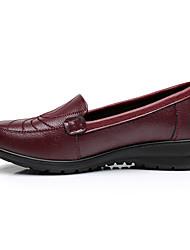 Черный Бордовый-Женский-Повседневный-Полиуретан-На плоской подошве-Мокасины-Спортивная обувь