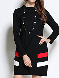 Women's Plus Size Going out Holiday Simple Cute Shift Dress,Solid Round Neck Above Knee Long Sleeve Cotton Spandex Blue Black WinterMid