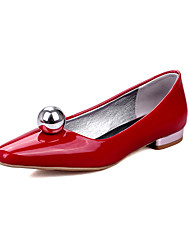 Women's Flats Spring Summer Comfort Patent Leather Casual Low Heel Others Black Red Silver Burgundy Walking