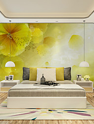 JAMMORY Art DecoWallpaper For Home Wall Covering Canvas Adhesive required Mural Yellow Background with Flowers XL XXL XXXL