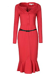 Women's Casual/Daily Sexy Bodycon Dress,Solid Deep V Knee-length Long Sleeve Cotton Red Black Spring Summer Mid Rise Inelastic